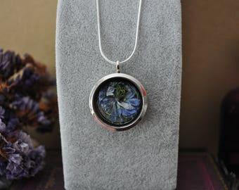 Innocence * silver Medallion blue flower