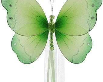 BUTTERFLY CURTAIN TIES - Brianna Butterfly - green  -  curtain tieback, tie back, decorative butterflies