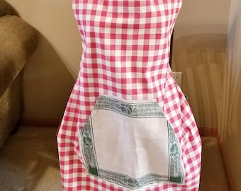 Red & White Check Christmas Vintage Linen Work Apron, Full Apron, Adjustable Strap Apron, Vintage Linen, Ready to Ship, MarjorieMae