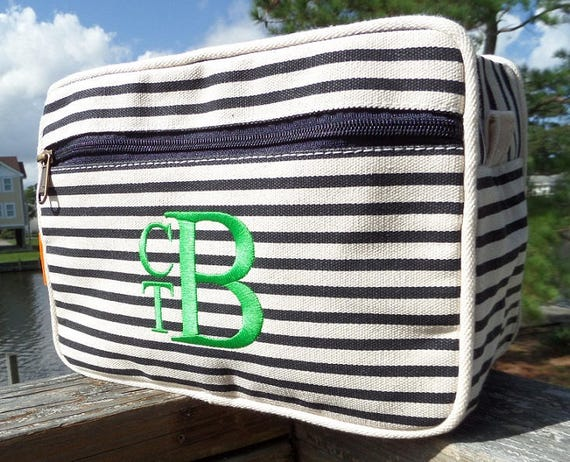 Monogrammed Bags Toiletry Bag Cosmetic Bags Navy and White Stripe Canvas Monogrammed Makeup Bags Accessory Bags Weddings Highway12Designs