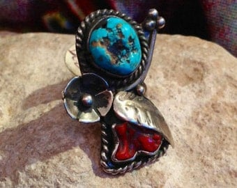 Vintage Old Pawn Coral & Turquoise ring size 5.5