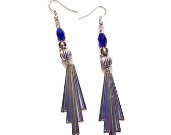 Artsy Blue & Silver dangle Earrings