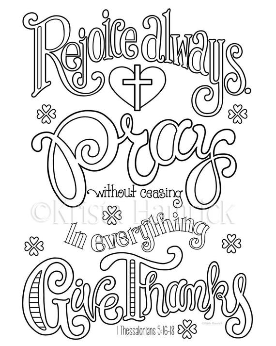 Rejoice Pray Give Thanks Coloring Page In Two Sizes 8 5x11