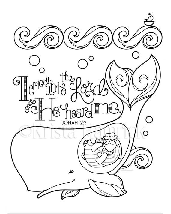 Jonah and the whale coloring page 8 5x11 bible journaling for Jonah bible coloring pages