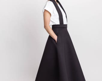 Woman's elegant neoprene skirt / Designer black bow skirt / Detachable dungarees black skirt / Midi black skirt /Fasada 18014