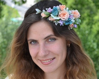 Peach flower crown Turquoise flower headband Wedding floral crown Bridal halo Spring wedding hair piece Bridal headpiece Gift for girlfriend