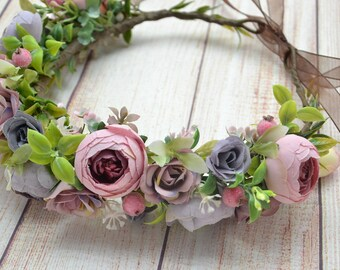 Wedding flower crown Blush flower Bridal flower headpiece Boho wedding crown Flower hair piece wedding Hair wreath Bridal flower crown