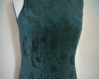 Vintage maxi evening dress 90s by Liza Lovell Made in Ireland emerald green paisley print dress size medium