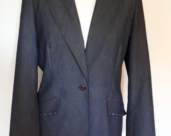 Vintage jacket blazer 90s by Etam dark navy denim style with rhinestone/diamante detail blazer size medium
