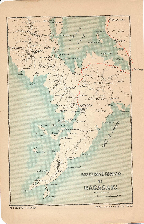 Nagasaki Japan Antique Map - Japan map full