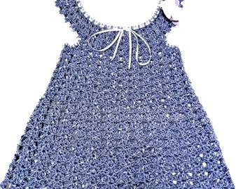 crochet handmade cotton dress lilac