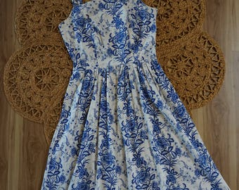 1980's does 1950's Blue Floral Fit and Flare Handmade Cotton Sundress Size S/M