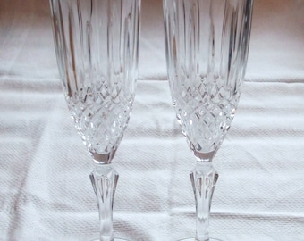 Pair of Vintage 1980's Crystal Champagne Flutes
