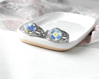 Blue flower ring Real flowers jewelry Resin ring for her Blue ring for girlfriend Solitaire rings wife Nature ring for sisters gift for wife
