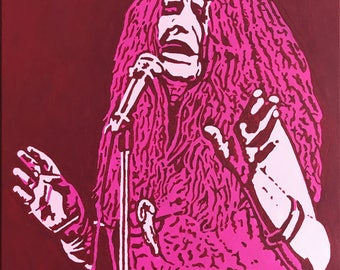 Janis Joplin on stage. Three color print on stretched canvas. My original is acrylic on canvas.