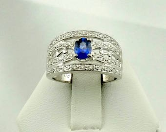Stunning 1/2 Carat Royal Blue Ceylon Sapphire and Diamonds In A 18K White Gold Ring FREE SHIPPING! #18KCCTL-GR3