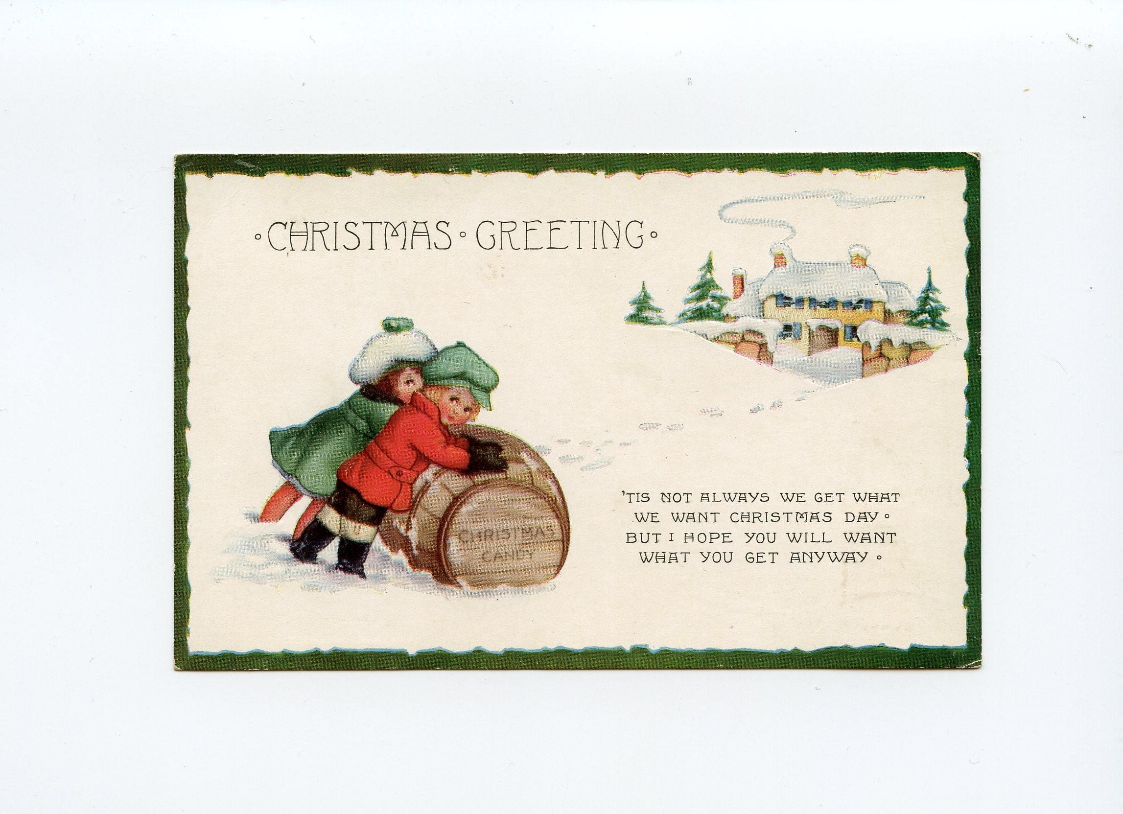 Christmas Greeting Postcard Children Pushing Wooden Barrel Of Candy