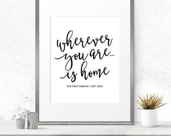 Wherever you are is home, Customizable sign, Customized printable, Home decor, Family name print, Home quote print, Housewarming gift