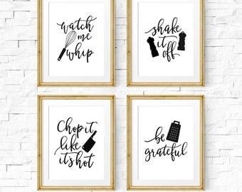 Kitchen signs, Kitchen print set, Printable art, Watch me whip, They see me rollin, Kitchen prints, Set of 4 prints, Kitchen art set