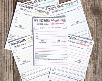 Writing Prompts Printable Worksheets | Ideas and Writing Planner | Writing Games | Seven Daily Workbooks | PDF A4 US letter | Writer's Break