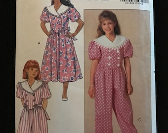 Butterick 5474 - Girl's Double Breasted Dress or Jumpsuit with Wide Contrast Collar and Back Bow Sash - Size 7 8