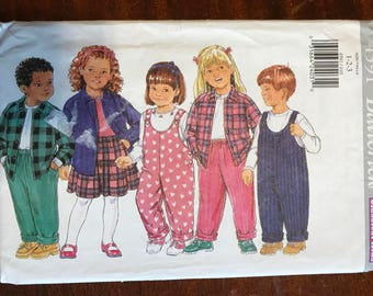 Butterick 4591 - Toddler's Button Front Shirt with Pointed Collar, Jumpsuit, Yoked Skirt, and Pull On Pants - Size 1 2 3