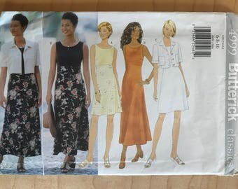 Butterick 4999 - Raised Waisr Dress with Contrast Skirt in Knee or Tea Length and Short Sleeved Jacket with Notched Collar - Size 6 8 10