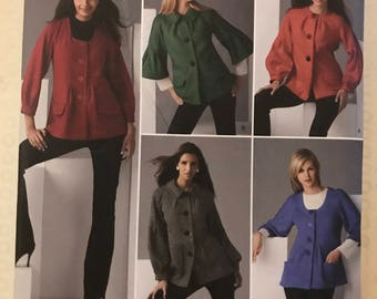 Simplicity 2760 - Womans Button Front Jacket with Scooped Neck, Collarless, or Pointed Collar Option - Size 6 8 10 12 14