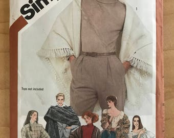 Simplicity 5210 - 1980s Shawl or Poncho with Fringe and Flounce Options - One Size
