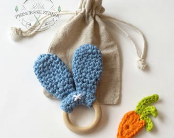 Bunny ears teething ring made of 100% cotton fiber and non-varnished maple wood for baby, teething ring made of natural materials no BPA