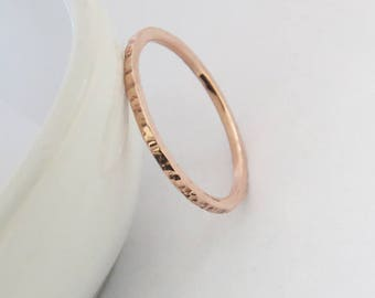 Hammered Copper Ring, Copper Stacking Ring, Thin 1,5 mm Copper Ring, Skinny Copper Ring, Dainty Copper Ring