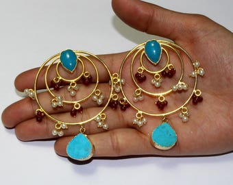 69x53mm Turquoise Earring / Designer Gold Earring / One of a Kind Gemstone Earrings / Hoop Style Earring / Ethnic Tribal Earring DE54