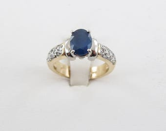 14k Yellow And White Gold Sapphire And Diamond Ring Size 6 1/2 1.80 Carats
