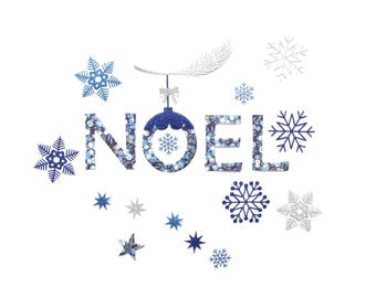 Iron on letters, Noel, patches, ornament, tablecloth, Christmas, applique, snowflakes, stars, blue, silver, sparkle, glitter, home decor