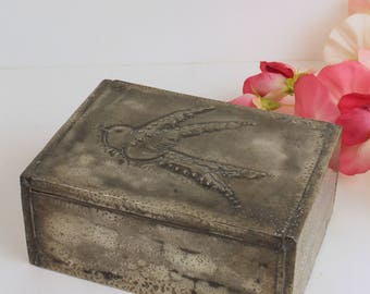 Hand-made Pewter Box with Swallow Detail
