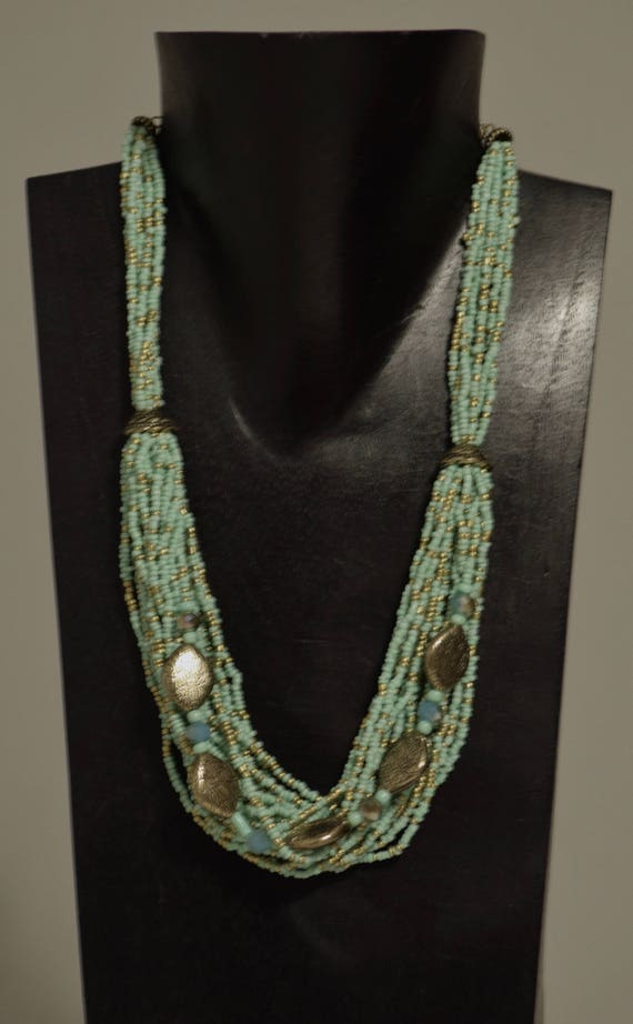 Necklace India Multi Strand Mint Green Glass Gold Beads Handmade Jewelry Blue Green Seed Beads Gold Beads Spacer Adjustable Necklace