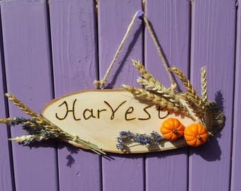 Harvest Sign, Pyrographed Decor, Miniature Pumpkins, Autumn Decoration, Fall Wall Hanging, Halloween Door Hanger, Dried Wheat, Lavender