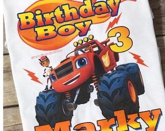 Blaze monster truck birthday shirt