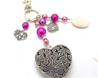 A scent! silver plated bag charm, Pink Pearl Heart charms