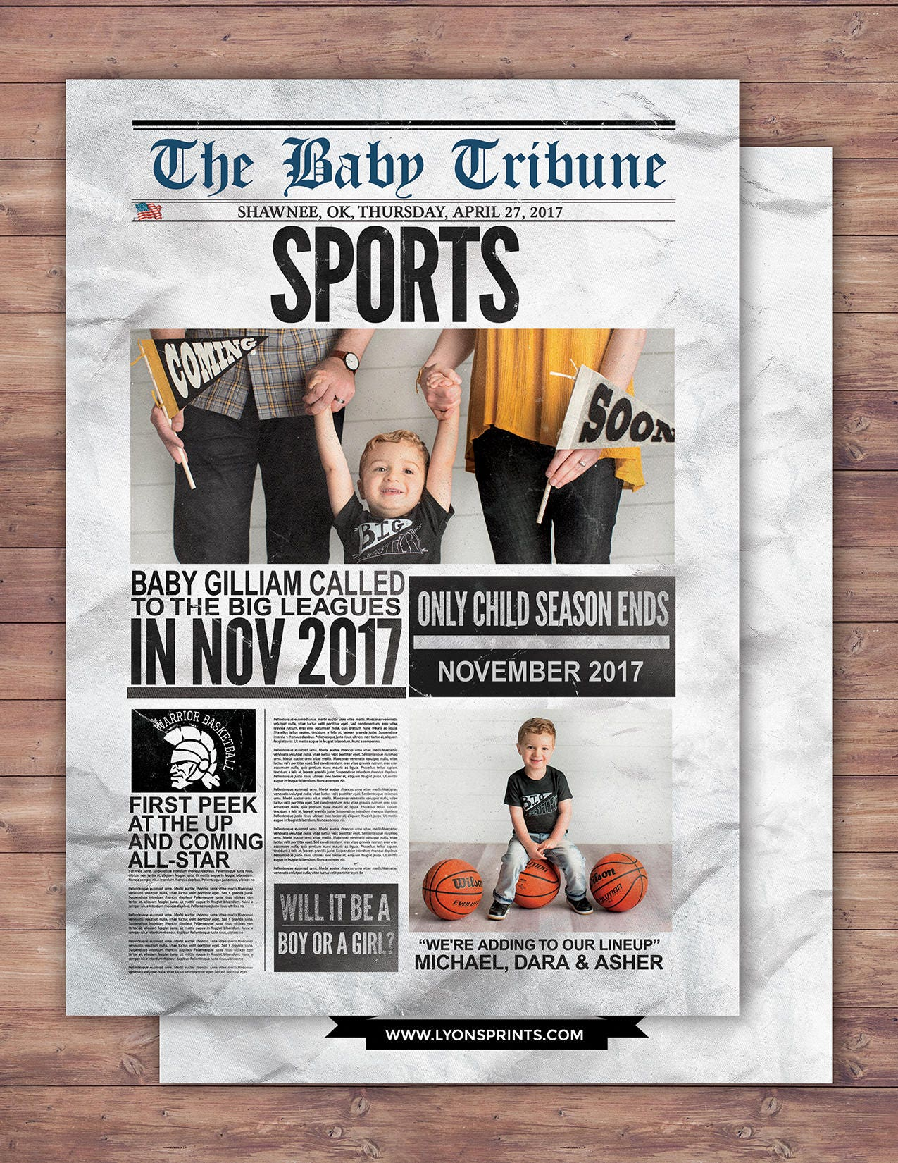 NEWSPAPER pregnancy announcement birth announcement baby boy – Football Birth Announcements