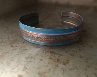 Rustic blue cuff, folded center, hand stamped copper bracelet
