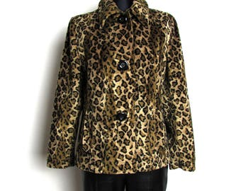 Vintage 70's LE  COMPLICI  Camel Brown Leopard Print Faux Fur Jacket BlazerMade in Itali Size M