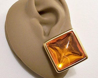 Monet Orange Yellow Square Pierced Stud Earrings Gold Tone Vintage Large Domed Clear Center Rimmed Extended Edges Surgical Steel Posts