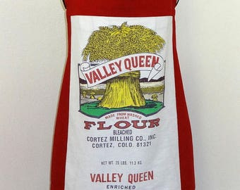 Flour Sack Red and White Valley Queen Apron