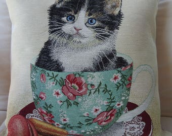 Handmade Cat In A Cup Tapestry Cushion Cover - Free Shipping