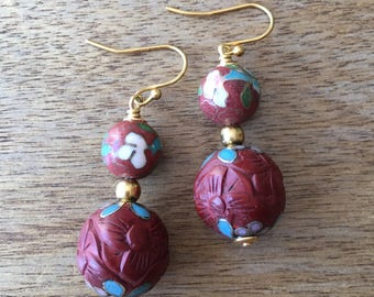 Cinnabar Earrings, Vintage Chinese Floral Cloisonné Bead and Carved Cinnabar Lacquer with Cloisonne Bead from the 70's Earrings