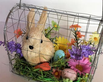 Easter gift idea etsy easter bunny floral easterspring decoration floral bunny cage whimsical decor negle Images