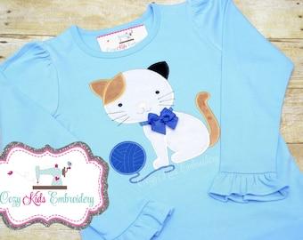 Kitty Shirt, Cat Shirt, Kitty Cat Shirt, Girls Kitty Shirt, Kitty Applique, Kitty Embroidery, Cat Applique, Cat Embroidery, Custom Shirt