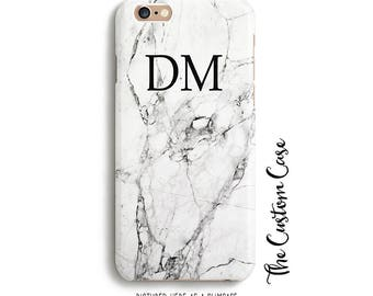 Monogram Marble Iphone Case, Monogram Initials on White Carrera Marble Iphone Case, Personalized Marble Phone Case, White Stone Iphone Cover