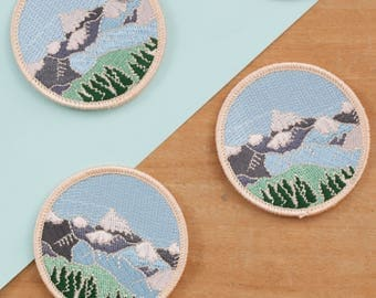Mountains Embroidered Iron-on Patch | Embroidered Badge | Mountain Patch | Alpine Mountain Scene | Wilderness Explorer Outdoors Patch